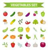 Insieme di verdure dell'icona, piano, stile del fumetto Ortaggi freschi ed erbe isolati su fondo bianco Prodotti di fattoria Immagini Stock