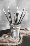 Insieme di verniciatura con le spazzole Fotografie Stock Libere da Diritti