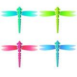 Insieme di vetro al neon della libellula di Colorfull Immagini Stock