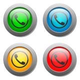 Insieme di vetro del bottone dell'icona del microtelefono del telefono Fotografie Stock Libere da Diritti