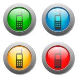 Insieme di vetro del bottone dell'icona del telefono Fotografia Stock Libera da Diritti