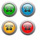 Insieme di vetro del bottone dell'icona del telefono Immagine Stock Libera da Diritti