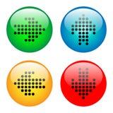 Insieme di vetro dell'icona del bottone delle frecce Fotografia Stock