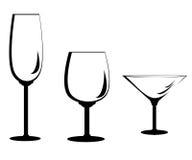 Insieme di vetro di vino illustrazione vettoriale
