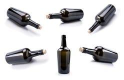 Insieme di vetro vuoto della bottiglia di vino immagini stock libere da diritti