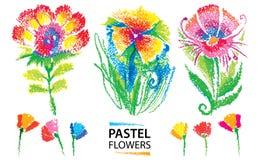 Insieme di vettore con i fiori stilizzati infantili pastelli dell'olio isolati su fondo bianco Stile assorbente astratto floreale Immagini Stock Libere da Diritti