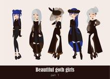 Insieme di vettore con isolato sulle ragazze gotiche del fondo Goth copre dei colori scuri, con differenti accessori, varia accon Fotografie Stock