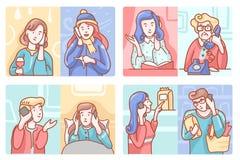 Insieme di vettore di conversazione telefonica di Smartphone illustrazione di stock