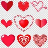 Insieme di vettore di cuore su fondo trasparente illustrazione vettoriale