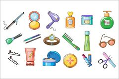 Insieme di vettore degli accessori delle donne, dello skincare e dei prodotti di igiene con il materiale di riempimento variopint royalty illustrazione gratis