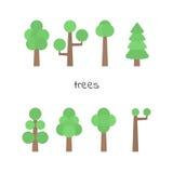 Insieme di vettore degli alberi semplici Alberi piatti isolati Fotografia Stock
