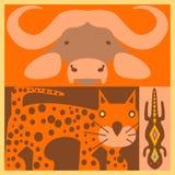Insieme di vettore degli animali africani Immagine Stock
