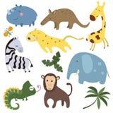 Insieme di vettore degli animali africani differenti Immagine Stock Libera da Diritti