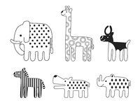 Insieme di vettore degli animali africani stilizzati Fotografia Stock Libera da Diritti