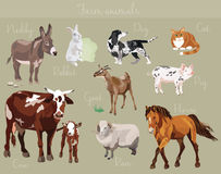 Insieme di vettore degli animali da allevamento differenti Fotografie Stock