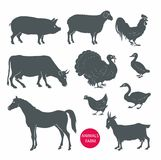 Insieme di vettore degli animali da allevamento mucca, pecora, capra, maiale, cavallo Fotografie Stock