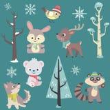 Insieme di vettore degli animali del bambino di orario invernale Fotografia Stock