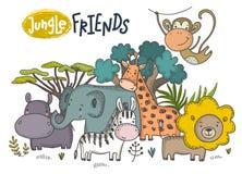 Insieme di vettore degli animali dell'Africano del fumetto Raccolta variopinta della giungla royalty illustrazione gratis