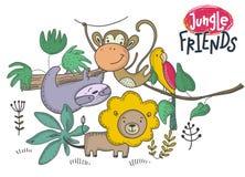 Insieme di vettore degli animali dell'Africano del fumetto Raccolta variopinta della giungla illustrazione vettoriale