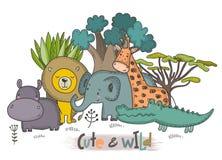 Insieme di vettore degli animali dell'Africano del fumetto Raccolta variopinta della giungla illustrazione di stock