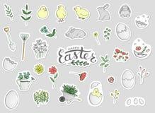 Insieme di vettore degli autoadesivi di Pasqua illustrazione di stock
