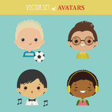 Insieme di vettore degli avatar Immagini Stock