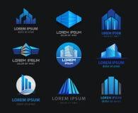 Insieme di vettore degli edifici per uffici blu 3d, case Fotografia Stock