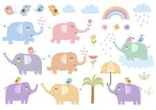Insieme di vettore degli elefanti isolati svegli illustrazione di stock