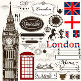 Elementi di disegno e tema calligrafici di Londra delle decorazioni della pagina Immagini Stock Libere da Diritti