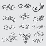 Insieme di vettore degli elementi calligrafici per progettazione Immagine Stock Libera da Diritti