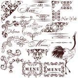 Insieme di vettore degli elementi d'annata calligrafici per progettazione illustrazione di stock