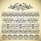 Insieme di vettore degli elementi decorati della decorazione della pagina Fotografia Stock