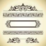Insieme di vettore degli elementi decorati della decorazione della pagina Immagine Stock