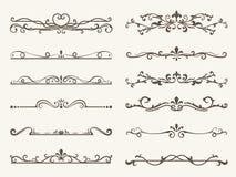 Insieme di vettore degli elementi, del telaio e della linea decorativi stile dell'annata illustrazione vettoriale