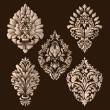 Insieme di vettore degli elementi dell'ornamentale del damasco Elementi astratti floreali eleganti per progettazione Perfezioni p Fotografia Stock