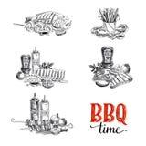 Insieme di vettore degli elementi della griglia e del barbecue Fotografie Stock