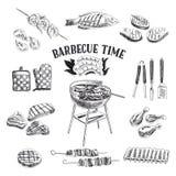 Insieme di vettore degli elementi della griglia e del barbecue Vettore Fotografia Stock