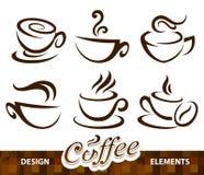 Insieme di vettore degli elementi di disegno del caffè Fotografia Stock