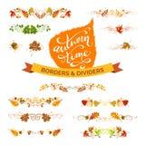 Insieme di vettore degli elementi di progettazione delle foglie di autunno Immagine Stock Libera da Diritti