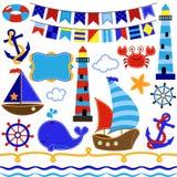 Insieme di vettore degli elementi di tema nautici e di navigazioni Immagine Stock