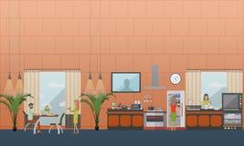 Insieme di vettore degli elementi piani di progettazione di stile della cucina illustrazione di stock