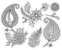 Insieme di vettore degli elementi variopinti di Paisley Indiano, motivi tradizionali persiani su fondo bianco Per il vostro diseg Immagine Stock