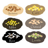 Insieme di vettore degli emblemi del grano e del cereale Per i chicchi d'imballaggio, stampe del barattolo della cucina, annuncia Fotografia Stock