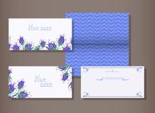 Insieme di vettore degli inviti dei modelli o delle cartoline d'auguri con la decorazione Immagini Stock
