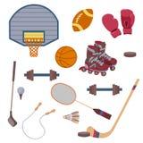 Insieme di vettore degli oggetti di sport Fotografia Stock