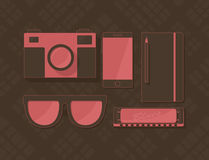 Insieme di vettore degli oggetti nello stile dei pantaloni a vita bassa Fotografia Stock