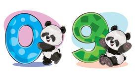 Insieme di vettore degli orsi di panda svegli del bambino con i numeri illustrazione di stock