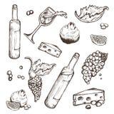 Insieme di vettore degli schizzi bevanda ed alimento su un fondo bianco Bottiglia di vino, bicchiere di vino, frutta, pezzo, i ra Immagine Stock Libera da Diritti