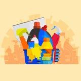 Insieme di vettore degli strumenti di pulizia Stile piano di progettazione Fotografia Stock