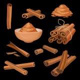 Insieme di vettore dei bastoni e della polvere di cannella Condimento aromatico Condimento piccante per i piatti, i dolci e le be Immagini Stock